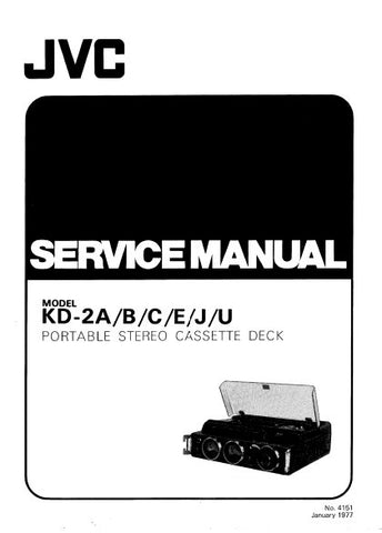 JVC KD-2A KD-2B KD-2C KD-2E KD-2J KD-2U PORTABLE STEREO CASSETTE DECK SERVICE MANUAL INC BLK DIAG PCBS SCHEM DIAG AND PARTS LIST 35 PAGES ENG