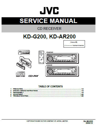 JVC KD-AR200 KD-G200 CD RECEIVER SERVICE MANUAL INC BLK DIAG PCBS SCHEM DIAGS AND PARTS LIST 50 PAGES ENG