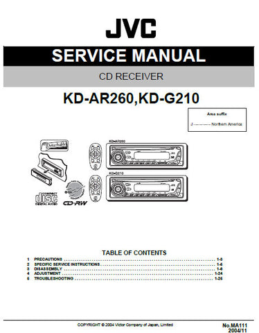 JVC KD-AR210 KD-G210 CD RECEIVER SERVICE MANUAL INC BLK DIAG PCBS SCHEM DIAGS AND PARTS LIST 57 PAGES ENG