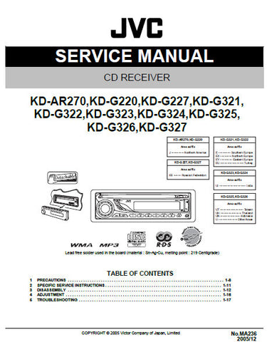 JVC KD-AR270 KD-G220 KD-G227 KD-G321 KD-G322 KD-G323 KD-G324 KD-G325 KD-G326 KD-G327 CD RECEIVER SERVICE MANUAL INC BLK DIAG PCBS SCHEM DIAGS AND PARTS LIST 97 PAGES ENG