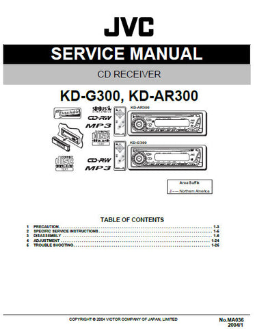 JVC KD-AR300 KD-G300 CD RECEIVER SERVICE MANUAL INC BLK DIAG PCBS SCHEM DIAGS AND PARTS LIST 56 PAGES ENG