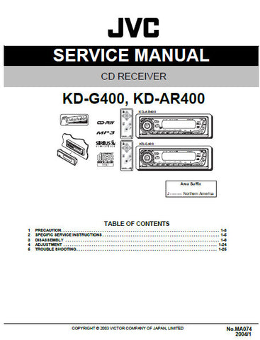 JVC KD-AR400 KD-G400 CD RECEIVER SERVICE MANUAL INC BLK DIAG PCBS SCHEM DIAGS AND PARTS LIST 56 PAGES ENG