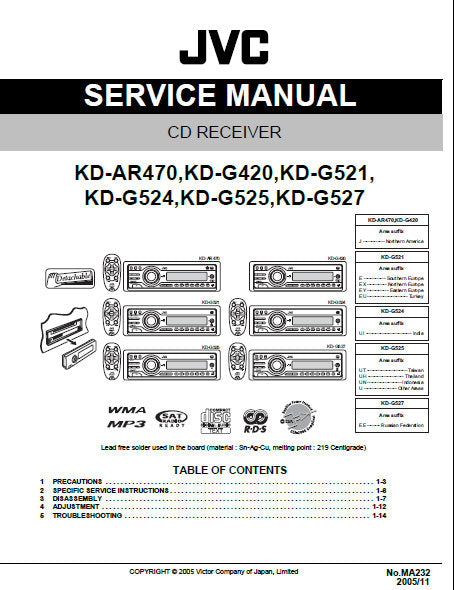 [TBQL_4184]  JVC KD-AR470 KD-G521 KD-G524 KD-G525 KD-G527 KD-G420 CD RECEIVER SERVI –  THE MANUALS SERVICE | Jvc Kd G420 Wiring Diagram |  | the manuals service