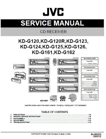 JVC KD-G120 KD-G120R KD-G123 KD-G124 KD-G125 KD-G126 KD-G161 KD-G162 CD RECEIVER SERVICE MANUAL INC BLK DIAG PCBS SCHEM DIAGS AND PARTS LIST 68 PAGES ENG