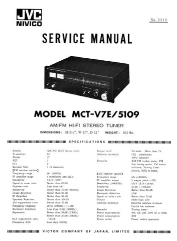 JVC MCT-V7E 5109 AM FM HIFI STEREO TUNER SERVICE MANUAL INC PCBS SCHEM DIAG AND PARTS LIST 27 PAGES ENG