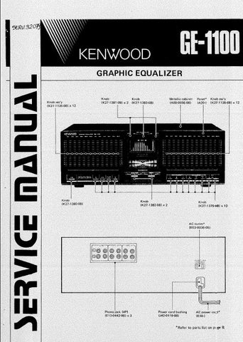 KENWOOD GE-1100 GRAPHIC EQUALIZER SERVICE MANUAL INC BLK DIAG PCBS SCHEM DIAG AND PARTS LIST 16 PAGES ENG