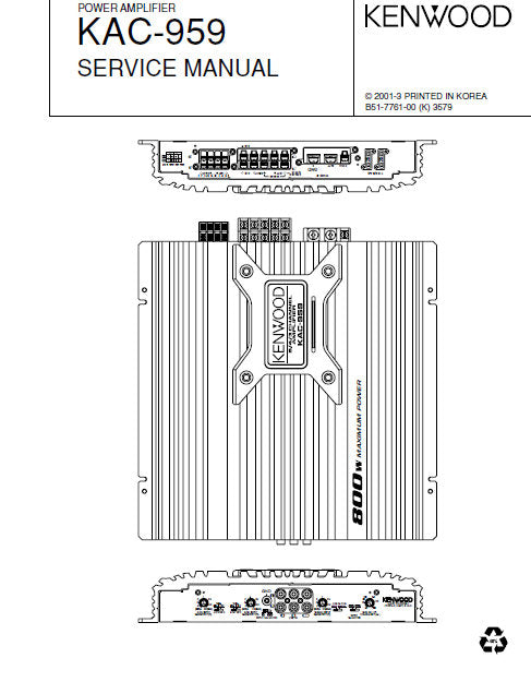 KENWOOD KAC-959 POWER AMPLIFIER SERVICE MANUAL INC PCBS SCHEM DIAGS AND PARTS LIST 14 PAGES ENG