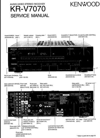 KENWOOD KR-V7070 AV STEREO RECEIVER SERVICE MANUAL INC BLK DIAG PCBS SCHEM DIAG AND PARTS LIST 42 PAGES ENG