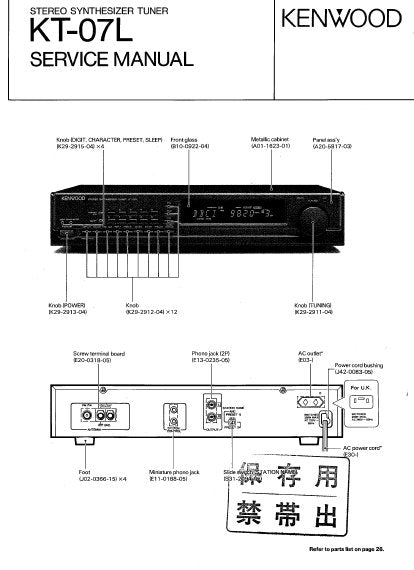 KENWOOD KT-07L STEREO SYNTHESIZER TUNER SERVICE MANUAL INC BLK DIAG PCBS SCHEM DIAG AND PARTS LIST 26 PAGES ENG