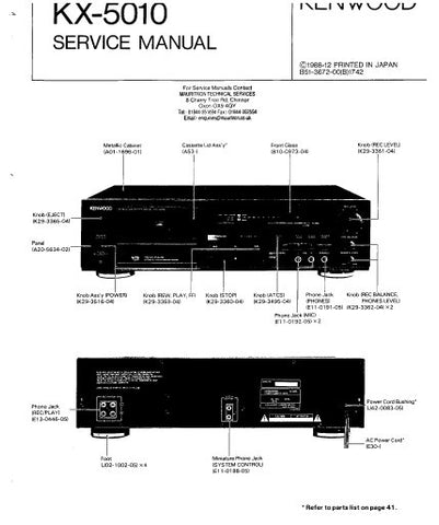 KENWOOD KX-5010 STEREO CASSETTE DECK SERVICE MANUAL INC BLK DIAG PCBS SCHEM DIAG AND PARTS LIST 55 PAGES ENG