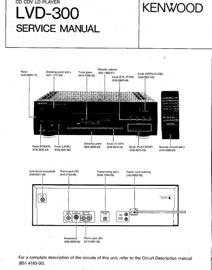 KENWOOD LVD-300 CD CDV LD PLAYER SERVICE MANUAL INC PCBS SCHEM DIAG AND PARTS LIST 48 PAGES ENG