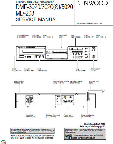 KENWOOD MD-203 DMF-3020 DMF-3020(S) DMF-5020 STEREO MINIDISC RECORDER SERVICE MANUAL INC BLK DIAG PCBS SCHEM DIAG AND PARTS LIST 25 PAGES ENG