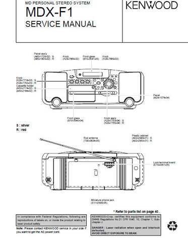 KENWOOD MDX-F1 MD PERSONAL STEREO SYSTEM SERVICE MANUAL INC PCBS SCHEM DIAG AND PARTS LIST 41 PAGES ENG