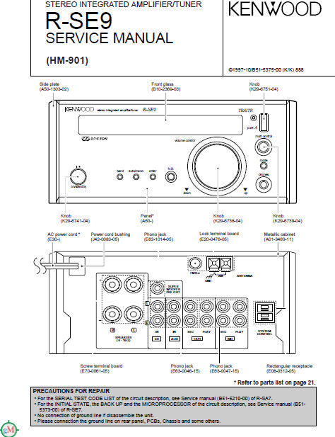 KENWOOD R-SE9 STEREO INTEGRATED AMPLIFIER TUNER SERVICE MANUAL INC PCBS SCHEM DIAGS AND PARTS LIST 23 PAGES ENG