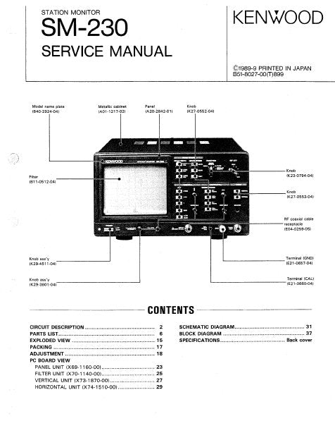 KENWOOD SM-230 STATION MONITOR SERVICE MANUAL INC BLK DIAG PCBS SCHEM DIAG AND PARTS LIST 43 PAGES ENG