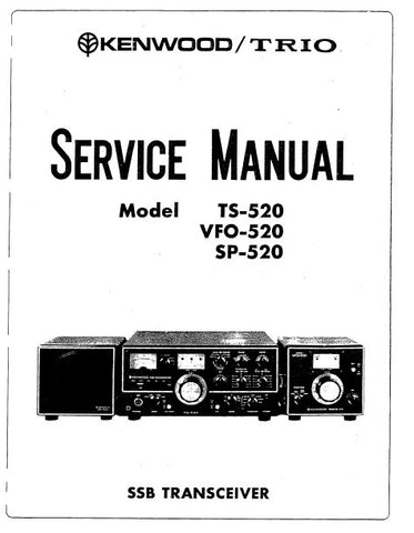 KENWOOD SP-520 TS-520 VFO-520 SSB TRANSCEIVER SERVICE MANUAL INC PCBS SCHEM DIAGS AND PARTS LIST 46 PAGES ENG