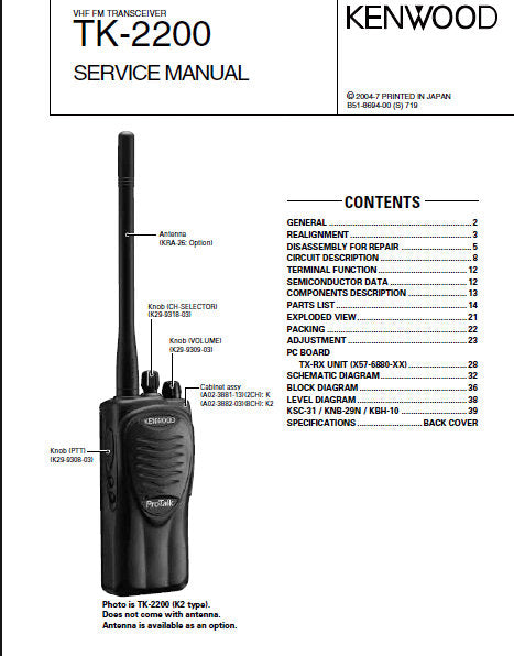 KENWOOD TK-2200 VHF FM TRANSCEIVER SERVICE MANUAL INC BLK DIAG PCBS SCHEM DIAGS AND PARTS LIST 43 PAGES ENG