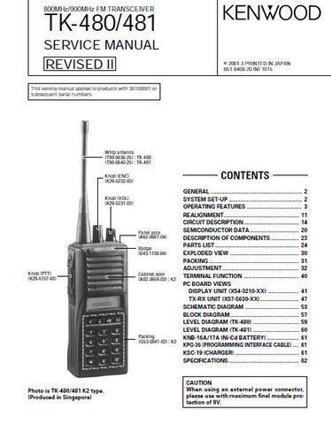 KENWOOD TK-480 TK-481 FM TRANSCEIVER SERVICE MANUAL INC BLK DIAG PCBS SCHEM DIAG AND PARTS LIST 54 PAGES ENG