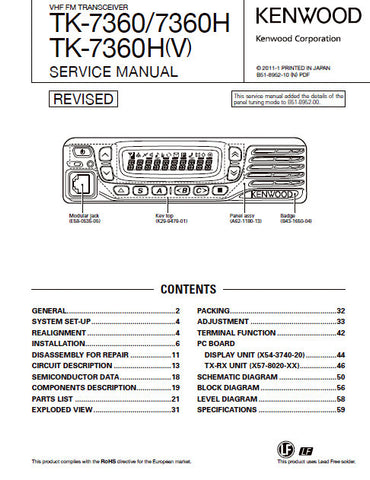 KENWOOD TK-7360 TK-7360H TK-7360H(V) VHF FM TRANSCEIVER SERVICE MANUAL INC BLK DIAG PCBS SCHEM DIAGS AND PARTS LIST 65 PAGES ENG