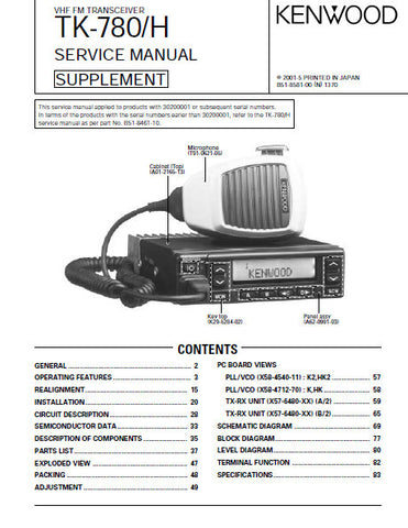 KENWOOD TK-780 TK-780H VHF FM TRANSCEIVER SERVICE MANUAL INC BLK DIAG PCBS SCHEM DIAGS AND PARTS LIST 69 PAGES ENG