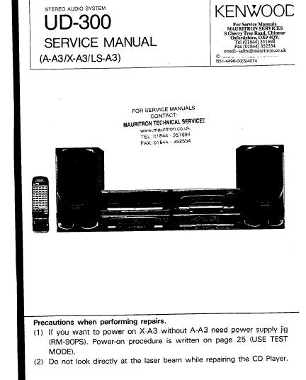 KENWOOD UD-300 STEREO AUDIO SYSTEM SERVICE MANUAL INC BLK DIAG PCBS SCHEM DIAG AND PARTS LIST 134 PAGES ENG