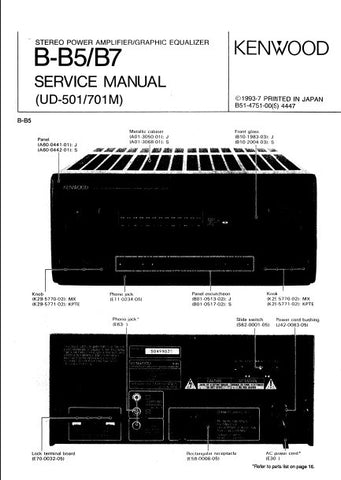 KENWOOD UD-501 UD-701M B-B5 B-B7 STEREO POWER AMPLIFIER GRAPHIC EQUALIZER SERVICE MANUAL INC PCBS SCHEM DIAGS AND PARTS LIST 14 PAGES ENG