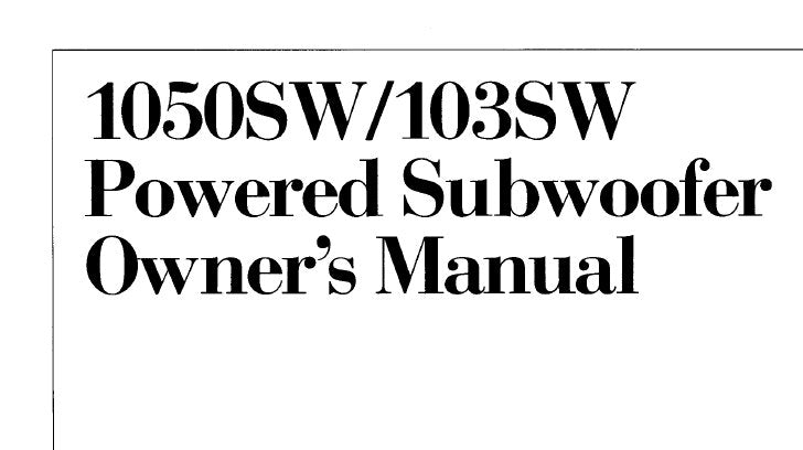 KENWOOD 103SW 1050SW POWERED SUBWOOFER OWNER'S MANUAL INC CONN DIAGS 12 PAGES ENG