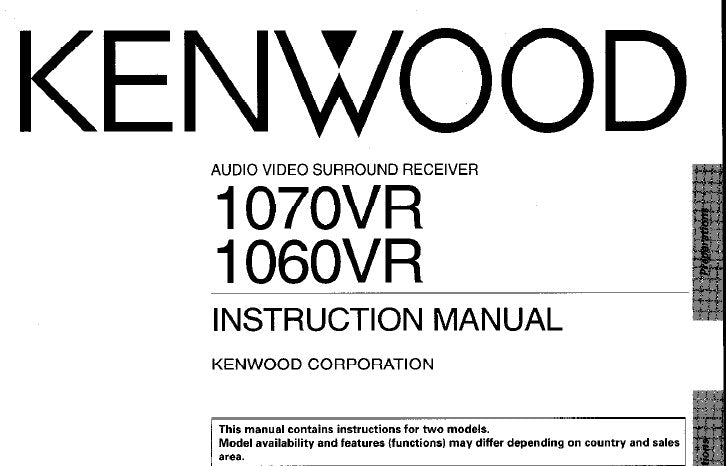 KENWOOD 1060VR 1070VR AV SURROUND RECEIVER INSTRUCTION MANUAL INC CONN DIAGS AND TRSHOOT GUIDE PAGES 53 ENG