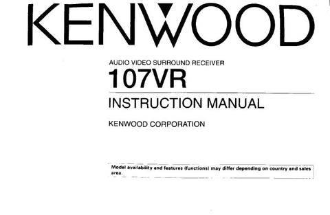 KENWOOD 107VR AUDIO VIDEO SURROUND RECEIVER INSTRUCTION MANUAL INC CONN DIAGS AND TRSHOOT GUIDE 32 PAGES ENG
