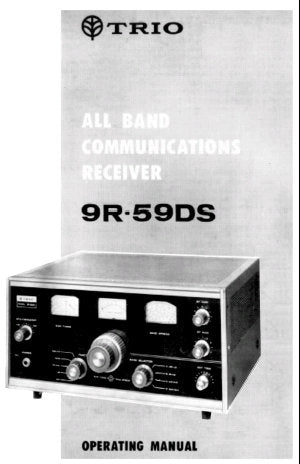 KENWOOD 9R-59DS TRIO ALL BAND COMMUNICATIONS RECEIVER OPERATING MANUAL INC BLK DIAG 12 PAGES ENG