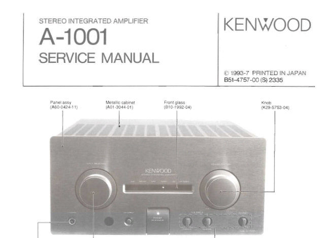KENWOOD A-1001 STEREO INTEGRATED AMPLIFIER SERVICE MANUAL INC BLK DIAG WIRING DIAG PCB'S SCHEM DIAGS AND PARTS LIST 19 PAGES ENG