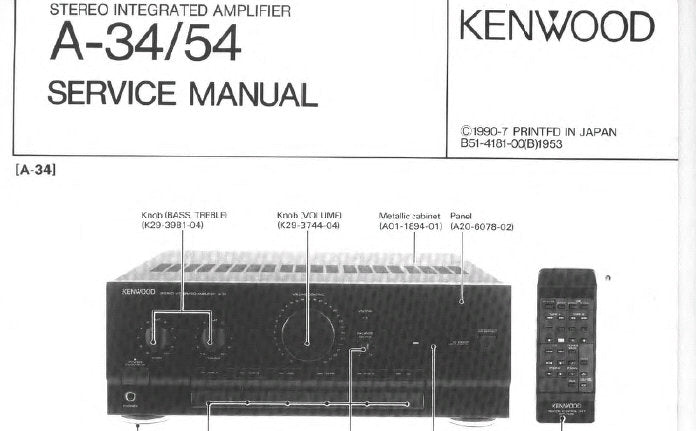 KENWOOD A-34 A-54 STEREO INTEGRATED AMPLIFIER SERVICE MANUAL INC WIRING DIAG PCB'S SCHEM DIAG AND PARTS LIST 25 PAGES ENG