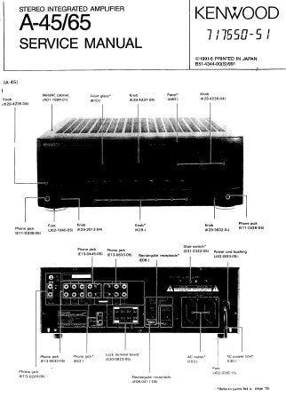 KENWOOD A-45 A-65 STEREO INTEGRATED AMPLIFIER SERVICE MANUAL INC WIRING DIAG PCB'S SCHEM DIAG AND PARTS LIST 13 PAGES ENG