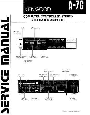 KENWOOD A-7G COMPUTER CONTROLLED STEREO INTEGRATED AMPLIFIER SERVICE MANUAL INC BLK DIAGS LEVEL DIAG PCB'S SCHEM DIAG AND PARTS LIST 19 PAGES ENG