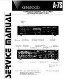 KENWOOD A-7S COMPUTER CONTROLLED STEREO INTEGRATED AMPLIFIER SERVICE MANUAL INC BLK DIAGS PCB'S SCHEM DIAG AND PARTS LIST 20 PAGES ENG