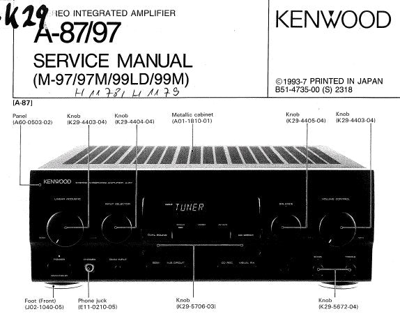 KENWOOD A-87 A-97 STEREO INTEGRATED AMPLIFIER SERVICE MANUAL INC BLK on fender champ wiring diagram, dc to ac inverter wiring diagram, amp rims, amp switch diagram, fender deluxe wiring diagram, amp ground diagram, fender vintage wiring diagram, amp speaker wire, fender amplifier wiring diagram,