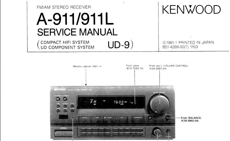 KENWOOD A-911 A-911L STEREO RECEIVER SERVICE MANUAL INC CONN DIAG BLK DIAG WIRING DIAG PCB'S SCHEM DIAGS AND PARTS LIST 28 PAGES ENG