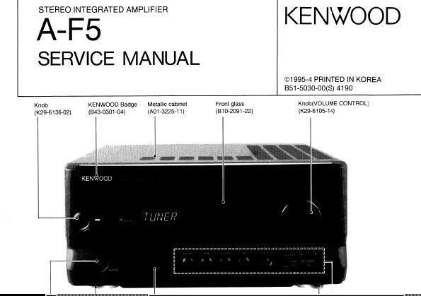 KENWOOD A-F5 STEREO INTEGRATED AMPLIFIER SERVICE MANUAL INC BLK DIAG WIRING DIAG PCB'S SCHEM DIAGS AND PARTS LIST 22 PAGES ENG