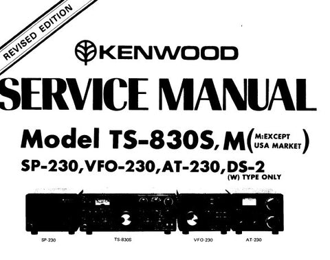 KENWOOD AT-230 DS-2 VFO-230 SP-230 TS-830S TS-830,M (EXCEPT US MARKET) HF SSB TRANSCEIVER SERVICE MANUAL INC BLK DIAGS CIRC DESCS PCBS SCHEM DIAGS LEVEL DIAG BLK DIAGS AND PARTS LIST 71 PAGES ENG