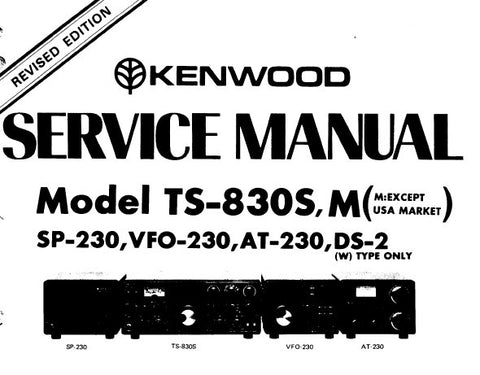 KENWOOD AT-230 VFO-230 SP-230 TS-830S M TRANSCEIVER SERVICE MANUAL INC PCBS SCHEM DIAGS LEVEL DIAG BLK DIAGS AND PARTS LIST 71 PAGES ENG