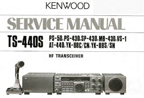 KENWOOD AT-440 TS-440S YK-88C YK-88CN YK-88S YK-88SN PS-50 PS-430 SP-430 MB-430 VS-1 HF TRANSCEIVER SERVICE MANUAL INC BLK DIAG PCBS SCHEM DIAGS AND PARTS LIST 116 PAGES ENG