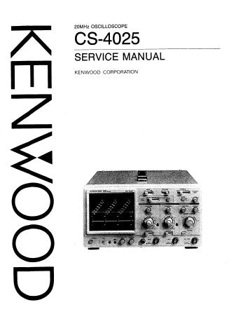 KENWOOD CS-4025 20MHz OSCILLOSCOPE SERVICE MANUAL INC BLK DIAG TRSHOOT GUIDE SCHEM DIAGS PCBS AND PARTS LIST 36 PAGES ENG