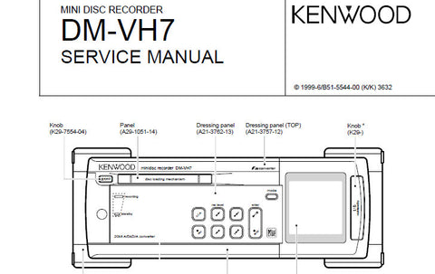 KENWOOD DM-VH7 MINI DISC RECORDER SERVICE MANUAL INC BLK DIAGS PCBS SCHEM DIAGS AND PARTS LIST 26 PAGES ENG