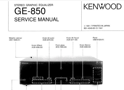 KENWOOD GE-850 STEREO GRAPHIC EQUALIZER SERVICE MANUAL INC PCBS SCHEM DIAGS AND PARTS LIST 23 PAGES ENG