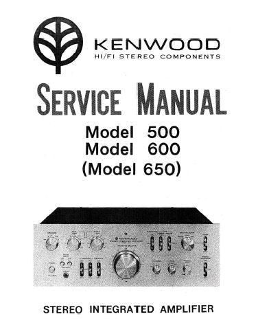 KENWOOD KA-500 KA-600 KA-650 STEREO INTEGRATED AMPLIFIER SERVICE MANUAL INC BLK DIAG TRSHOOT GUIDE PCBS AND PARTS LIST 20 PAGES ENG