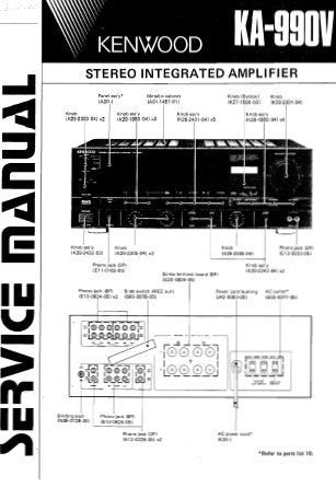 KENWOOD KA-990V STEREO INTEGRATED AMPLIFIER SERVICE MANUAL INC BLK AND LEVEL DIAG PCBS SCHEM DIAGS AND PARTS LIST 19 PAGES ENG