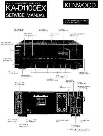 KENWOOD KA-D1100EX DIGITAL INTEGRATED AMPLIFIER SERVICE MANUAL INC BLK DIAG PCBS SCHEM DIAG AND PARTS LIST 21 PAGES ENG