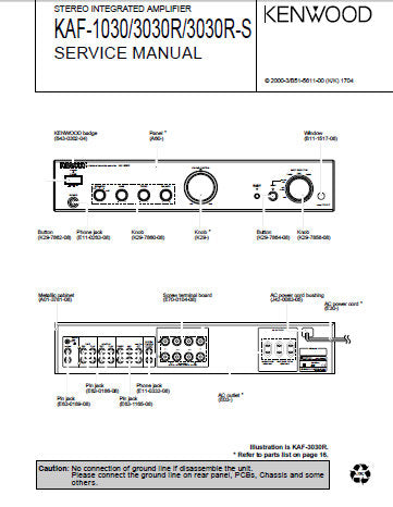 KENWOOD KAF-1030 KAF-3030R KAF-3030R-S STEREO INTEGRATED AMPLIFIER SERVICE  MANUAL INC PCBS SCHEM DIAGS AND PARTS LIST 16 PAGES ENG