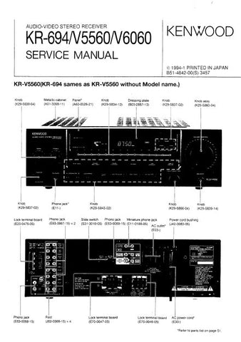 KENWOOD KR-694 KR-V6060 KR-V5560 AV STEREO RECEIVER SERVICE MANUAL INC BLK DIAG PCBS SCHEM DIAG AND PARTS LIST 52 PAGES ENG