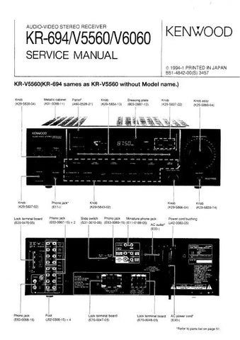 KENWOOD KRF-V5560 KRF-V6060 KR-694 AV STEREO RECEIVER SERVICE MANUAL INC BLK DIAG WIRING DIAG PCBS SCHEM DIAGS AND PARTS LIST 52 PAGES ENG